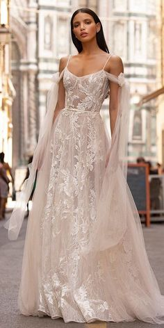 berta fall 2020 muse bridal cold shoulder thin straps semi sweetheart neckline fully embellished lace a line ball gown wedding dress scoop back chapel train mv -- Muse by Berta Fall 2020 Wedding Dresses Pretty Wedding Dresses, Amazing Wedding Dress, Wedding Dress Trends, Bridal Dresses, Gown Wedding, Wedding Bride, Wedding Dress Country, Woodland Wedding Dress, Lace Wedding