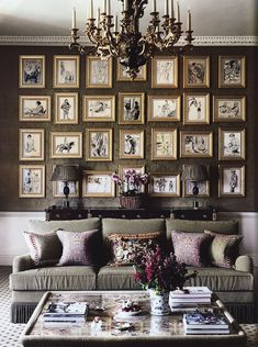 Living Room - One great collection & display of drawings. Classic furnishings & elegant decor bound together with a muted palette but one that commands total comfort as we gaze at the gallery wall.
