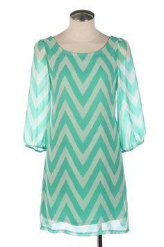 $39.99 Womens Small Medium or Large Dress * NEW * Chevron Pattern * Mint Chevron * ~~~
