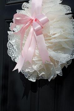 doily wreath and tea party ideas