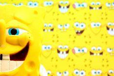 See Creature. Close-up of Spongebob Squarepants hiding in plain sight.