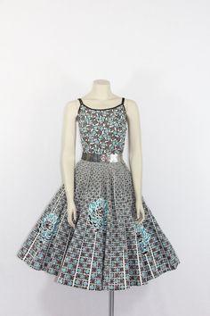 1950s Vintage Dress - Black White and Turquoise Cotton Sundress - Novelty Print Floral Dress - 35 / 28/ full