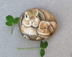 Bunny Mother and Baby hand Painted on the Rock | Flickr - Photo Sharing!