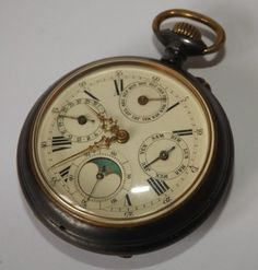 Antique Gun Metal Case Calandar Moon Phase Pocket Watch Working Needs Attention
