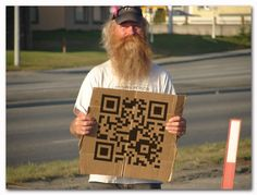 QR Code in use by a street solicitor