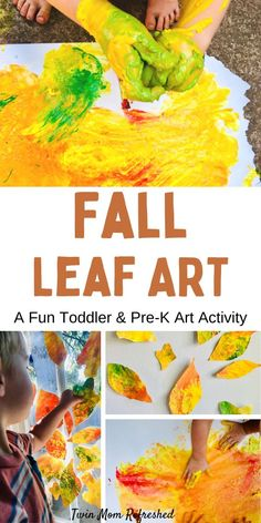 A fun fall leaf activity for 1 year olds, 2 year olds, 3 year olds and preschool kids. Make leaves using process art in this easy low-prep art activity for toddlers! Art Activities For Toddlers, Painting Activities, Art Activities For Kids, Autumn Activities, Infant Activities, Fall Arts And Crafts, Preschool Arts And Crafts, Toddler Art, Toddler Crafts