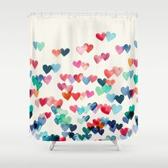 Adorable Hearts Shower Curtain | http://society6.com/product/heart-connections-watercolor-painting_shower-curtain?curator=joanneapple