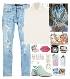 """""""Distressed Jeans: Pastels & Florals"""" by fabirm ❤ liked on Polyvore featuring AMIRI, Étoile Isabel Marant, Dolce&Gabbana, Bernard Delettrez, Guerlain, Lime Crime, Christian Dior, Nails Inc., Beau Coops and ban.do"""