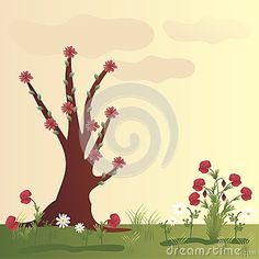 Illustration about Beautiful landscape with poppy flowers, chamomile and tree. Illustration of grass, beautiful, feminine - 52253035 Poppy Flowers, Direct Sales, Graphic Design Illustration, Beautiful Landscapes, Ecommerce, Poppies, Grass, Illustrations, Herb