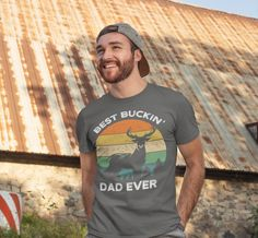 Men's Funny Dad T Shirt Father's Day Gift Best Buckin' Dad Ever Shirt Vintage Shirt Retro Buck Deer Father Hunter Shirt Buck Deer, Custom Printed Shirts, Funny Dad, Ring Doorbell, Fathers Day Shirts, Order T Shirts, Dad Humor, Personalized T Shirts, Vintage Shirts