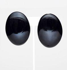 80's Black Large Oval Earrings FripperyVintage.com