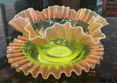 Stevens & Williams, Vaseline Opalescent Threaded Glass Finger Bowl and Under Plate by AlfsMusicAndSports on Etsy