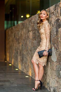 Gold Lace Party Midi Dress