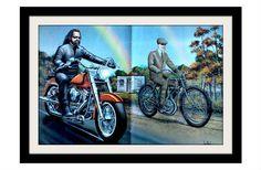 """Vintage Motocycle art   DAVID MANN Ghost Vintage Motorcycle Art Print, """"From Past"""" Vintage ..."""