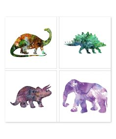 Loving this Dinosaur Brontosaurus Canvas Wall Art - Set of Four on #zulily! #zulilyfinds