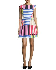 multi-striped fit-&-flare dress by kate spade new york at Neiman Marcus.