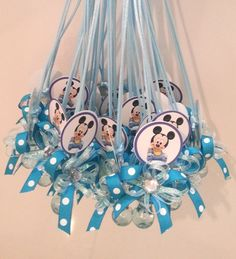 Pacifier Baby Blue Necklace Baby Shower Party Favor Game Supplies Baby Boy Mickey  Mouse 1 Dz Dozen 12 Pieces