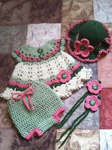 Crocheted Baby dress, hat, panties and barefoot sandals. $30 Spend $40...get FREE SHIPPING!