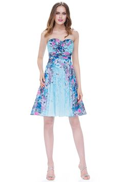 Ever-Pretty Floral Bridesmaid Dress Short Strapless Homecoming Cocktail Party Dresses 05498 Cute Short Dresses, Cute Casual Dresses, Short Summer Dresses, Formal Dresses, Floral Bridesmaid Dresses, Affordable Bridesmaid Dresses, Summer Dresses Online, Ever Pretty