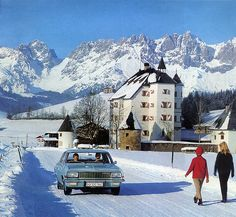 Picture perfect winter  1967 calendar - Opel Admiral  Photo taken in Kitzbühel, Austria, a famous Tyrolean winter resort. This is my first scan from the 1967 Opel calender I received today in the mail from Austria. The building is called Schloss Lebenberg, now an expensive resort hotel.  See where this picture was taken. [?]