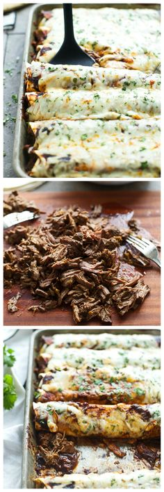 Shredded Beef Enchiladas with Ancho Chile Sauce