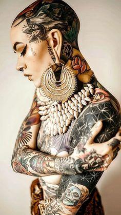 All Tatoo Gallety Tattoo Girls, Girl Tattoos, Tattoos For Women, Tattooed Women, Face Tattoos, Leg Tattoos, Body Art Tattoos, Flower Tattoos, Tattoo P