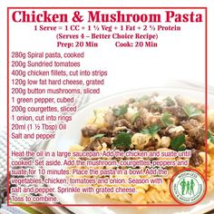Weigh-Less Chicken & Mushroom Pasta Healthy Eating Recipes, Healthy Meal Prep, Mexican Food Recipes, Diet Recipes, Chicken Recipes, Cooking Recipes, Pasta Recipes, Healthy Food, Ham And Mushroom Pasta