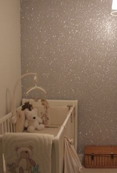 HGTV says if you mix a gallon of glue with glitter, then paint with it, the glue will dry clear... Bam!! Glitter wall!! perfect for a baby girl!!
