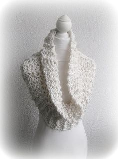 Infinity Scarf Loop White offwhite Cozy Wrap UP  by Iovelycrochet, $61.00