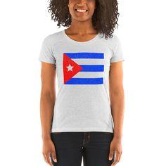 Cuban Flag Dotted Ladies' short sleeve t-shirt Cuban Flag, Puerto Rican Flag, Raglan Shirts, Puerto Ricans, Knit Beanie, Classic T Shirts, T Shirts For Women, Lady, Tees