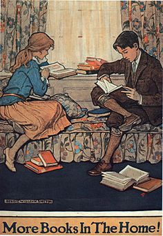 Book Week poster from designed by children's illustrator Jessie Willcox Smith via womenreading I Love Books, Good Books, Books To Read, Reading Art, Woman Reading, Reading Books, Kids Reading, Children's Book Week, Book Illustration