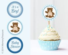 Bear Baby Shower Cupcake Toppers Printable Baby by MemoryTreasure