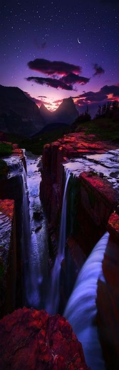 Twilight Triple Falls, Glacier National Park, Alaska, USA