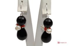 #Trendy #Earrings red #Coral #Pearls black #Agate in 925 Silver id01 #Orecchini #Trendy #Corallo rosso #Perle #Agata nera in Argento 925 id01 #jewelery #luxury #trend #fashion #style #italianstyle #lifestyle #gold #silver #store #collection #shop #shopping #showroom #mode #chic #love #loveit #lovely #style #beautiful #pretty #madeinitaly #bestoftheday #Earrings #earringsforsale