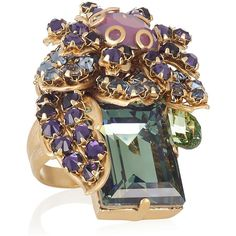Bijoux Heart Ernite 24-karat gold-plated Swarovski crystal ring ($390) ❤ liked on Polyvore