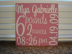Baby Stat Chart - Painted wood with vinyl lettering.