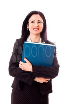 Stock photo of smiling businesswoman with binder