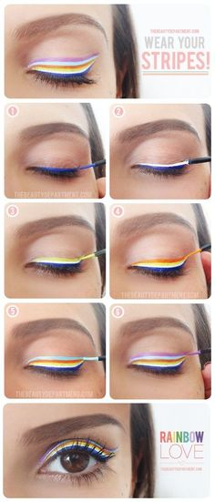 Rainbow Eyeliner Tutorial - Head over to Pampadour.com for product suggestions! Pampadour.com is a community of beauty bloggers, professionals, brands and beauty enthusiasts! #makeup #howto #tutorial #beauty #smokey #smoky #eyes #eyeshadow #cosmetics #beautiful #pretty #love #pampadour