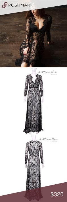 """Black Lace Maxi Dress / Cover Up #568 Perfect for maternity pictures, over lingerie or as a beach cover up. Also available in white in a separate listing.   Measurements  S- Bust 33.86""""/ Waist 25.98""""/ Length 62.99'' / fits like size 4  M - Bust 35.43""""/ Waist 27.56""""/ Length 63.78''/ fits like size 6  L - Bust 37.01''/ Waist 29.13"""" / Length 64.57''/ fits like size 8  XL - Bust 38.58""""/ Waist 30.71''/ Length 65.35'' / fits like size 10   🔺Price is firm. No offers, please!🔺 dottie…"""