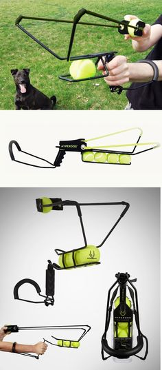 ☻☻☻ The Hyper Dog Launcher is a sling shot that is designed to shoot a tennis ball over 200 feet. It allows for hands free pick up -- no need to touch slimy balls. $24 ☻☻☻