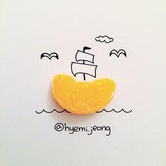 #boat #orange #gull #sea #cloud #drawing #sketch #art #illustration #배 #귤 #갈매기 #바다 #구름 #손그림 #일러스트 #미술 #스케치
