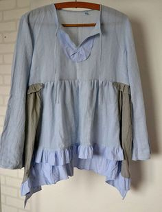 upcycled clothing, cotton tonic, light blue, recycled tunic, cottage chics, shabby