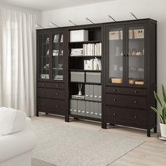 HEMNES Storage combination w doors/drawers, black-brown, light brown, 106 - IKEA Liatorp, Ikea Living Room, Ikea Bedroom, Living Rooms, Glass Cabinet Doors, Glass Doors, White Stain, Small Drawers, Drawer Fronts