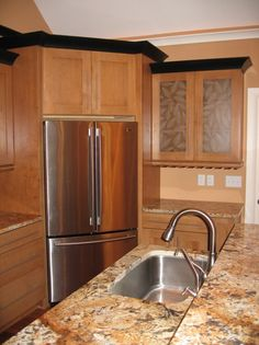 Luxury Home Kitchen, Custom-Built Glass-Front Cabinets, Built-In Corner Refrigerator, Crown Molding, Indianapolis, Madison Custom Homes Inc....