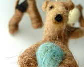Baby Mobile, Felted Airedales, Bright Color Accents, Custom Dog Breeds, Terriers with Natural Driftwood, 4 Figures. $225.00, via Etsy.
