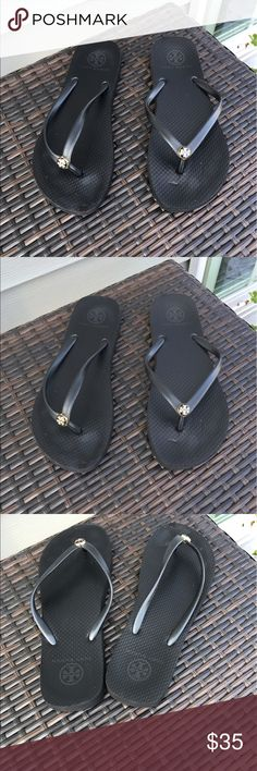 Tory Burch Flip Flop Tory Burch Flip Flop in black. Size 8. Used a handful of times. Indents on Footbed- shown in photos. Otherwise great! Retails for 50$. Tory Burch Shoes Sandals
