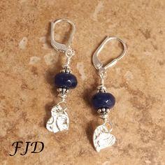 Fine Silver, Jade and Sterling Silver Earrings by FelicityDesignsLLC on Etsy