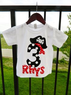 Ahoy Matey - Pirate shirt boy baby, toddler personalized birthday number or initial red name with black pirate hat applique NB  - 16