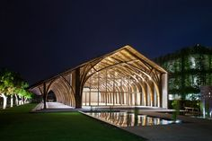 conference hall using two types of bamboo in vietnam | vo trong nghia (photography by hiroyuki oki)