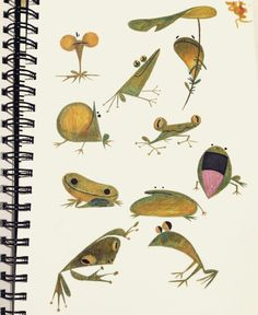 malgang: So many frogs: kiss the sky Animal Sketches, Animal Drawings, Art Sketches, Shading Drawing, Drawing Art, Frog Illustration, Frog Art, Cute Kawaii Drawings, Cute Frogs